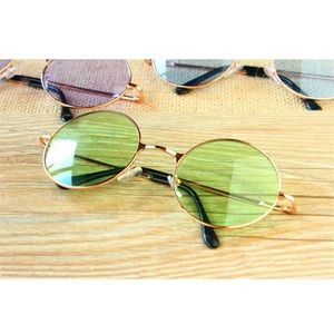 Green Rose Gold Circle Sunglasses